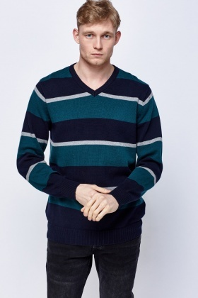 Green Striped V-Neck Sweater