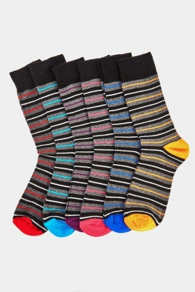 Pack Of 6 Striped Mens Socks