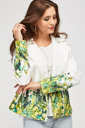 Printed Hem Zip Front Jacket