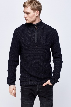 Speckled Zipped Neck Jumper