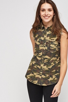 Camouflage Denim Sleeveless Shirt