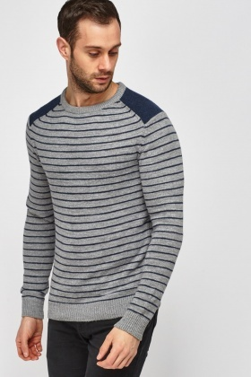 Contrast Shoulder Striped Jumper