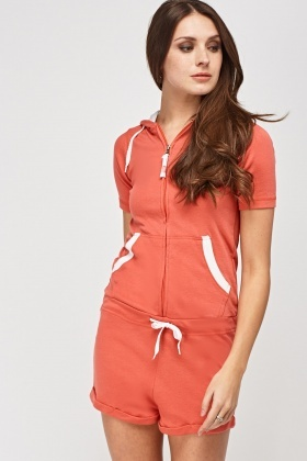 Hooded Zipped Playsuit