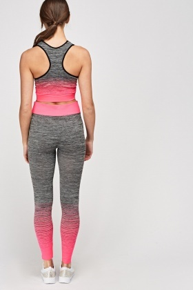 Hot Pink Crop Top And Leggings Sports Set