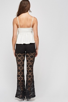 Lace Overlay Flare Trousers