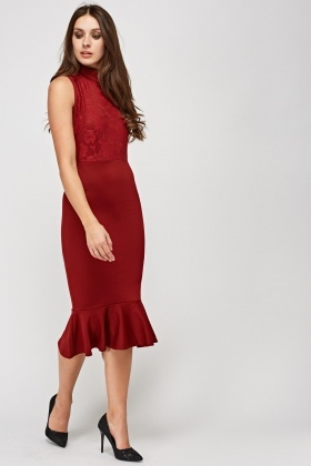 Mermaid Hem Lace Insert Dress