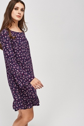Printed Frill Hem Dress