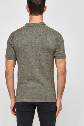 Textured Front Polo T-Shirt