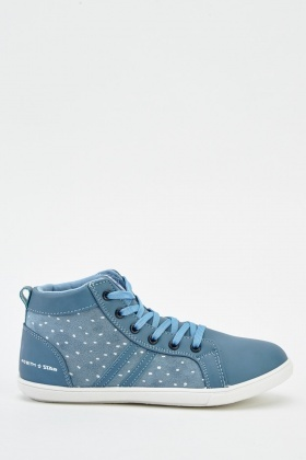 Contrast Faux Leather High Top Trainers
