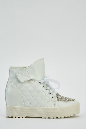 Encrusted Faux Leather Wedged Trainers