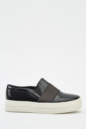 Faux Leather Plimsolls