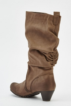 Ruched Low Heel Boots