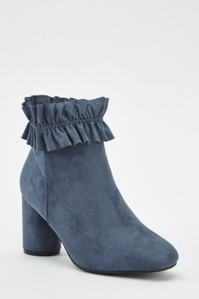 Ruched Top Blue Heeled Boots