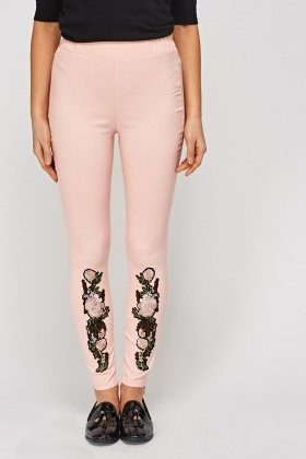 Applique Pink Leggings