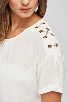 Chain Detailed Sleeve Top