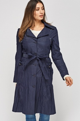 Crinkled Pleated Hem Long Jacket
