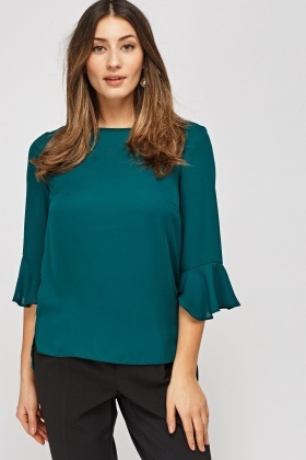 Forest Green Sheer Blouse
