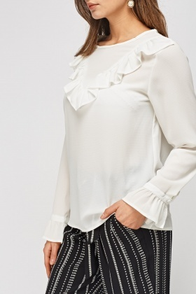 Frilled Front Textured Blouse