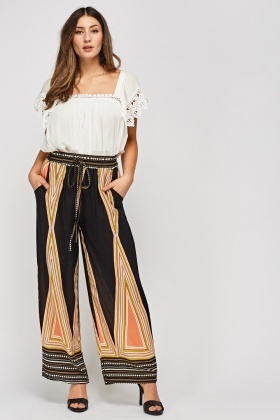 Mixed Print Wide Leg Light Trousers