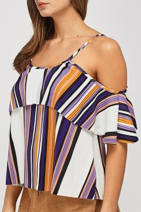 Pleated Cold Shoulder Casual Top