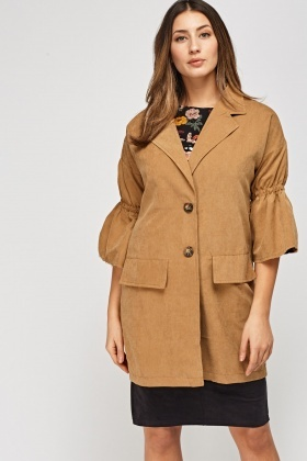 Ruched Sleeve Long Jacket