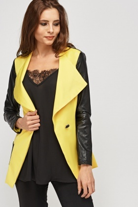 Faux Leather Sleeve Textured Jacket