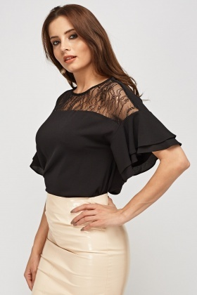 Lace Insert Textured Top