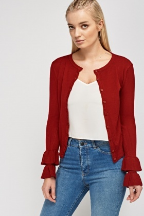 Layered Frilled Sleeve Knitted Cardigan