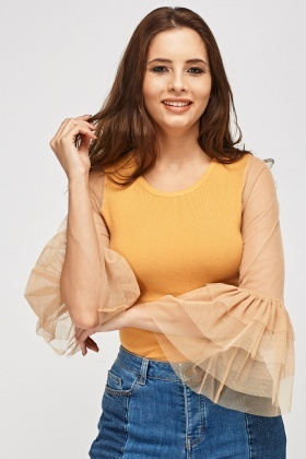 Mesh Sleeve Layered Contrast Top