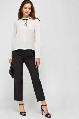 Ruffled Trim Textured Blouse