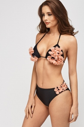 3D Flower Triangle Bikini Top