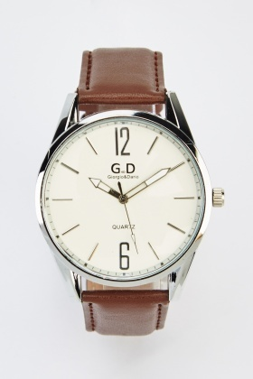 Faux Leather Classic Strap Watch