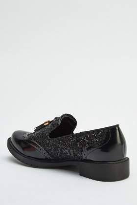 Glittered Tassel Front Loafers