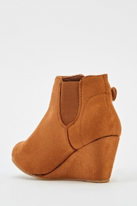 Suedette Wedged Ankle Boots