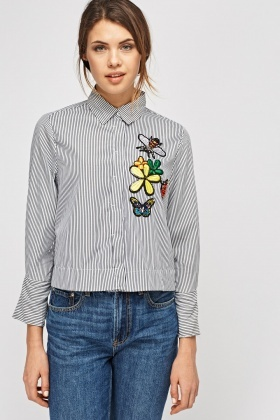 Applique Striped Shirt