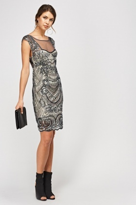 Beaded Sequin Mesh Overlay Dress