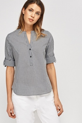 Check Grid Casual Top