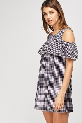 Checked Cut Out Shoulder Dress