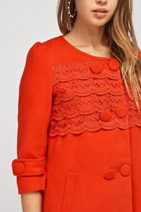 Crochet Front Red Jacket