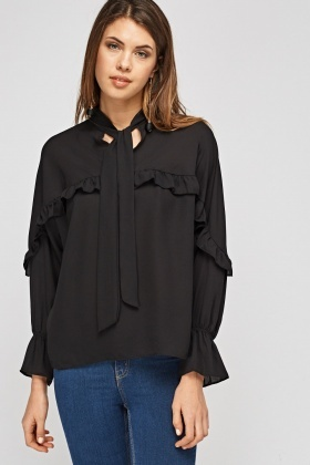 Frilled Trim Tie Up Neck Blouse