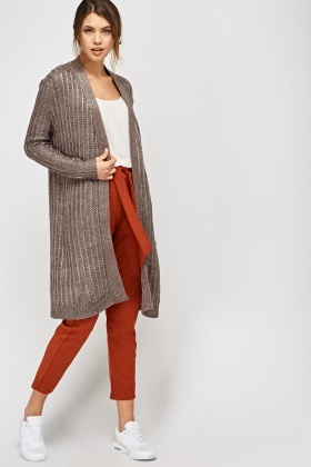 Metallic Insert Cable Knit Cardigan