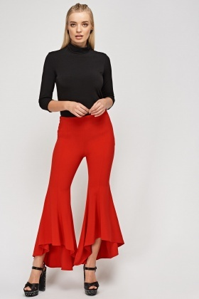 Red Flare Leg Trousers