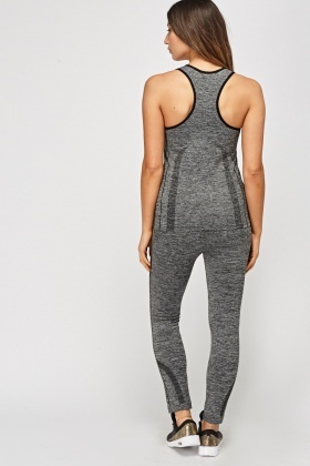 Speckled Printed Sports Tank And Leggings Set
