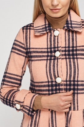 Wool Blended Checked Coat