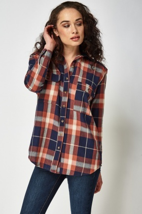 Check Grid Contrast Collar Shirt