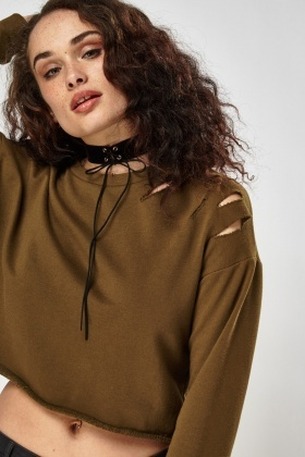 Distressed Cropped Jumper