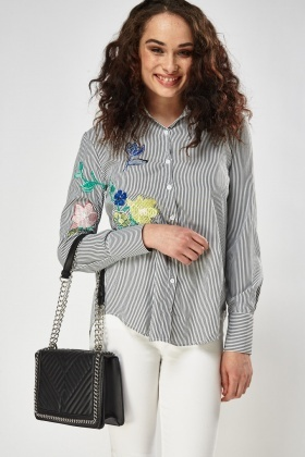 Embroidered Side Striped Shirt
