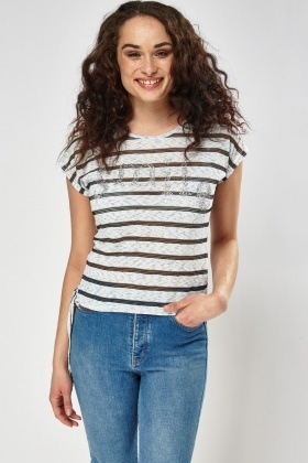 Encrusted Smile Striped Top