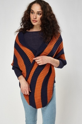 Knitted Colour Block Tube Scarf