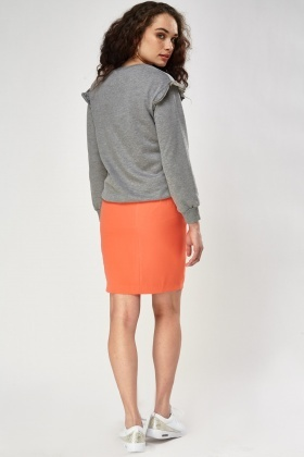 Orange Zipped Front Skirt